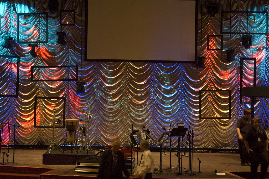 Austrian drape on stage with concert lighting