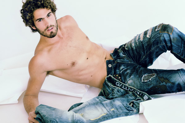 Mens jeans, a colour branding and marketing fashion shot in the studio. Photography by Kent Johnson, Sydney Australia.