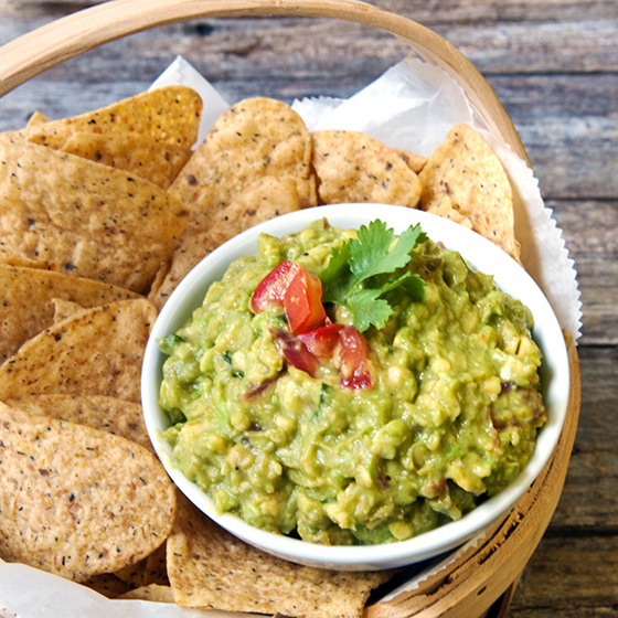 My favorite guacamole with my favorite Tostitos multi-grain chips