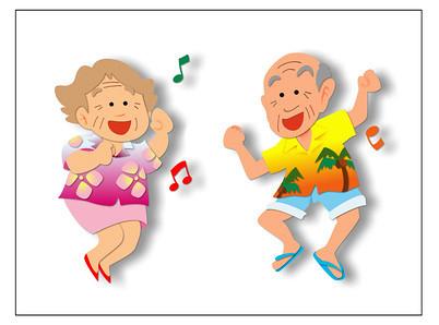 元気に踊るおじいさん、おばあさん