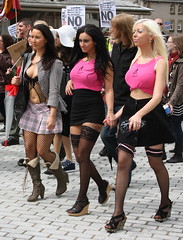 Edinburgh: Slutwalk 2011 [Glam Barbers] (chairmanblueslovakia) Tags: city pink never stockings tattoo march scotland is movement edinburgh stones political capital protest scottish parliament fishnet mini skirt babe rape cobble fault blonde heels glam brunette feminist midriff wedge barbers survivors the slutwalk glambarbers