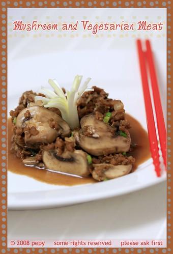 Stir Fry Mushroom and Vegetarian Meat with Kecap Manis 1