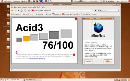 Firefox 3.1 alpha 1 et son score de 76 / 100 au test acid3