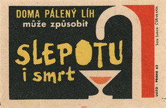 czechoslovakian matchbox label (maraid) Tags: food glass warning death czech walkingstick alcohol packaging czechrepublic 1960s 1962 homebrewing czechoslovakia blindness czechoslovakian matchboxlabel solosusice uuzo