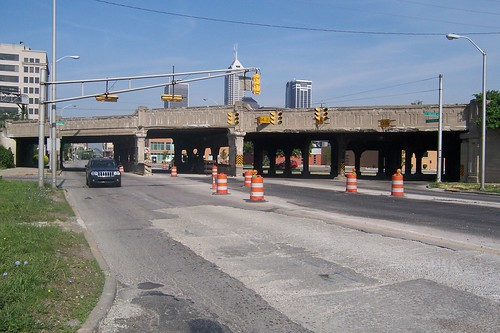 Railroad overpass at College Ave.