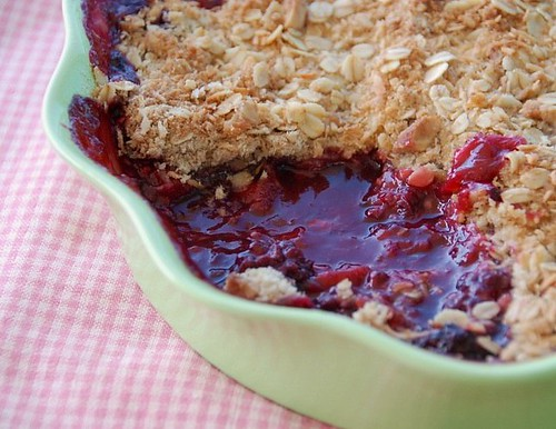 rhubarb berry crumble spooned out