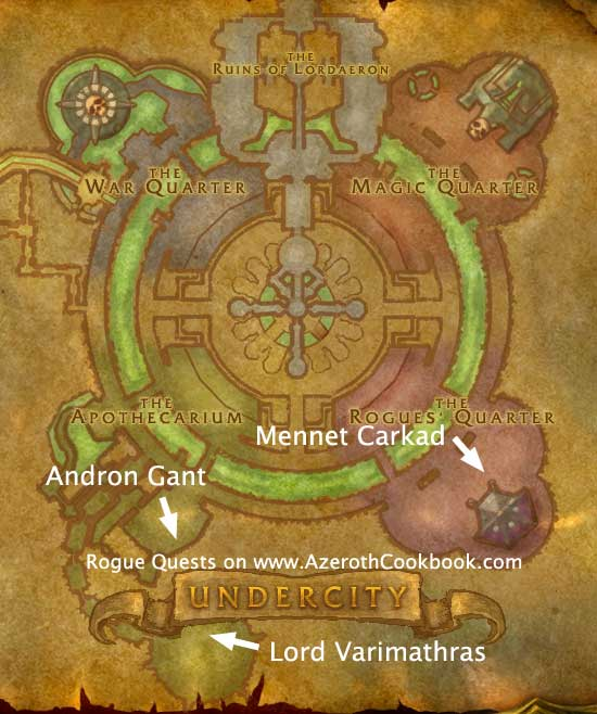 Undercity map - Rogue Level 10 Quest