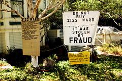 FRAUD (mmechinita) Tags: california sign berkeley neighbors frontyard fraud mortgage foreclosure thestateofthestates