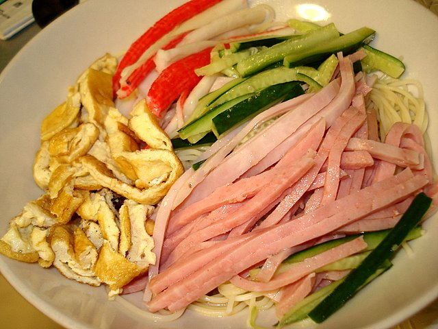 Hiyashi chuka (cold Chinese noodles) using angel hair spaghetti