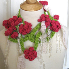 Rambling Rose Lariat (KnittingGuru) Tags: white green rose scarf necklace belt ribbons lace oneofakind lariat crocheted scarflette