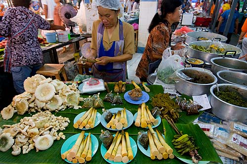 Wet season treats bamboo and mushrooms for sale at Lampang's evening market