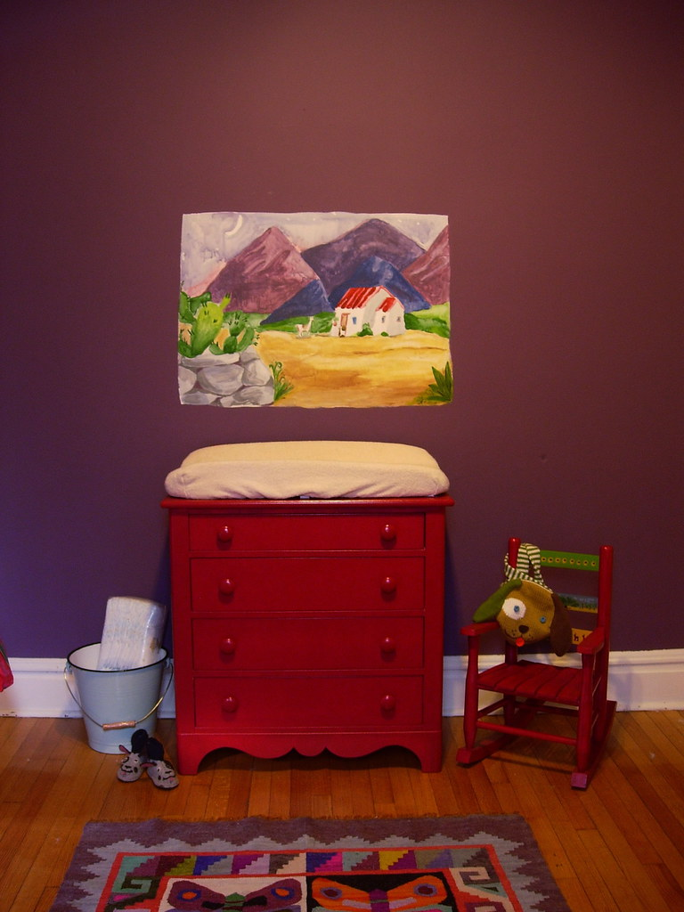 red dresser/ changing table