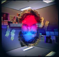 At Work (zach-o-matic) Tags: film analog holga lofi redflash holga120 analogphotography colorflash plasticcamera plasticlens zachground blueflash cheapcamera holgacolorflash toycomera lofiphotography 180flip zacharyground 180degreeflip