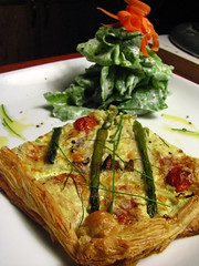 Asparagus, Crimini and Tomato Tart with Bib Lettuce and Fresh Cream Dressing