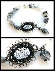 rutilated quartz silver bracelet