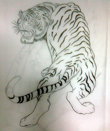 Japanese tattoo flash, tiger, tattoo sketch