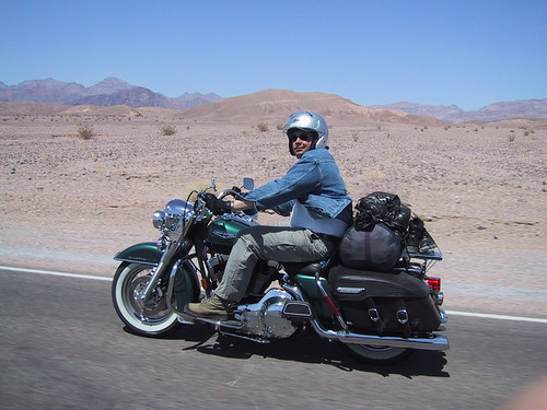 Tristan on a rented Harley, Death Valley, Spring 2002