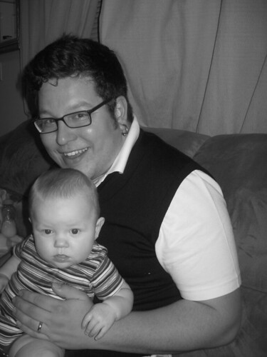 Chubs and Daddy aka Matt. I love his sweater vest, this was taken after his second day at his new job.