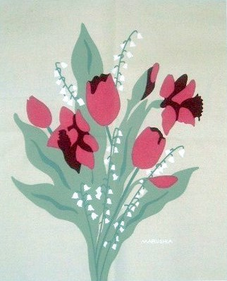 Marushka - bouquet of tulips and lilies (pink, red, green)