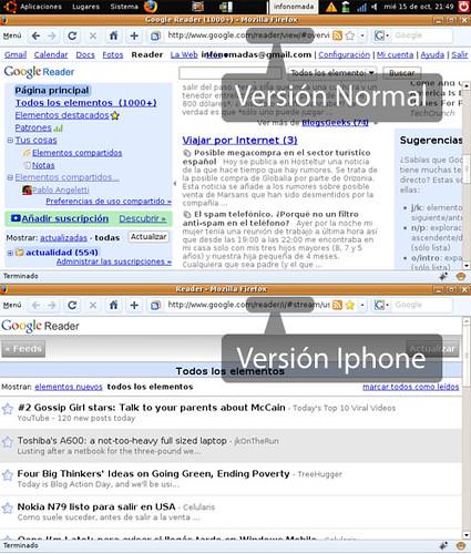Google Reader en el Eeepc