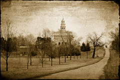 Nauvoo Illinois Temple (Altus Photo Design) Tags: road trees sepia temple illinois nauvoo mormon thechurchofjesuschristoflatterdaysaints ldstemple thechurchoflatterdaysaints nauvooillinoistemple