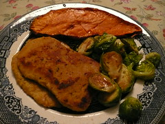Seitan Cutlet, Brussels, Baked Sweet Potato
