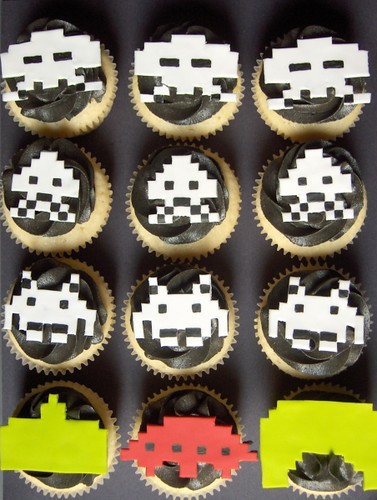 Retro Space Invaders Cupcakes by clevercupcakes
