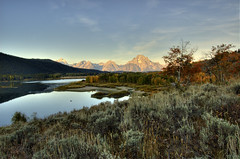 "first light at oxbow bend (Matt ""Linus"" Ottosen) Tags: park autumn 3 fall yellow sunrise river exposure raw searchthebest bend snake grand mount national snakeriver wyoming mountmoran teton aspen moran hdr oxbow grandtetonnationalpark photomatix gtnp oxbowbend 3exposure"