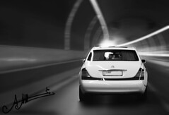 Flashback from the Past .. (A.A.A) Tags: road white 3 black love car by speed way photography back missing day eid tunnel to dedicated miss qatar makkah amna maybach abdulaziz althani totheoneilove