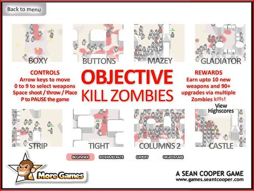 Graphic showing Objective Kill Zombies game