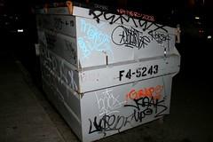 dumpster tag (caffeina) Tags: sf sanfrancisco street city urban night trash dumpster grey graffiti graf korea tetra optimist grape handstyles pemex reak goser enyer westadd lusent