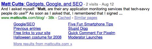 Google Sitelinks Subdirectories