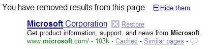 SearchWiki Removed Result