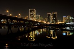 River City Lights At Night (TAWilsonPhotography) Tags: christmas city bridge black reflection water skyline architecture night river lights virginia downtown cityscape richmond jamesriver grandillumination richmondskyline platinumphoto richmondvirginiaskyline richmonddowntown richmondcityscape