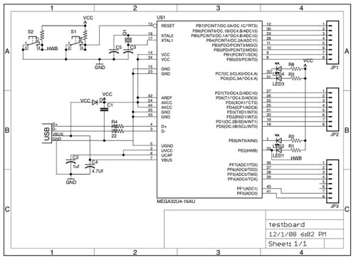 Schematic For Test Board