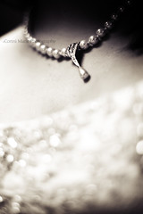 Pearly Bokeh (-Cortni Marie-) Tags: wedding blackandwhite canon wednesday photography 50mm bride necklace dress bokeh 14 pearls jewelery bridal