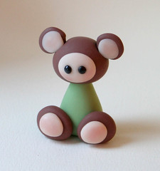 Soft Green Mippy (fliepsiebieps1) Tags: bear sculpture brown cute green teddy handmade polymerclay fimo clay kawaii figurine mippy