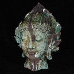 Turquoise Crackle Raku Buddha Head (TheBuddhaBuilder) Tags: sculpture art face statue modern ceramics peace nirvana spirit buddha buddhist buddhism calm altar clay zen figure pottery meditation karma spiritual yin enlightenment dharma buddah raku guan siddhartha kwan thebuddhaproject buddhabuilder