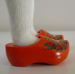 orange clogs with tulips and windmill