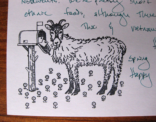 Goat eats mail