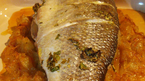 Seabass with honey and saffron onion marmalade