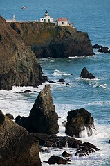 Point Bonita Lighthouse from the Marin Headlands - Goldean Gate Recreation Area California (Darvin Atkeson) Tags: ocean california sea usa america point golden bay us gate san francisco pacific marin bonita area headlands recreation  stacks    darvin   atkeson  darv   liquidmoonlightcom
