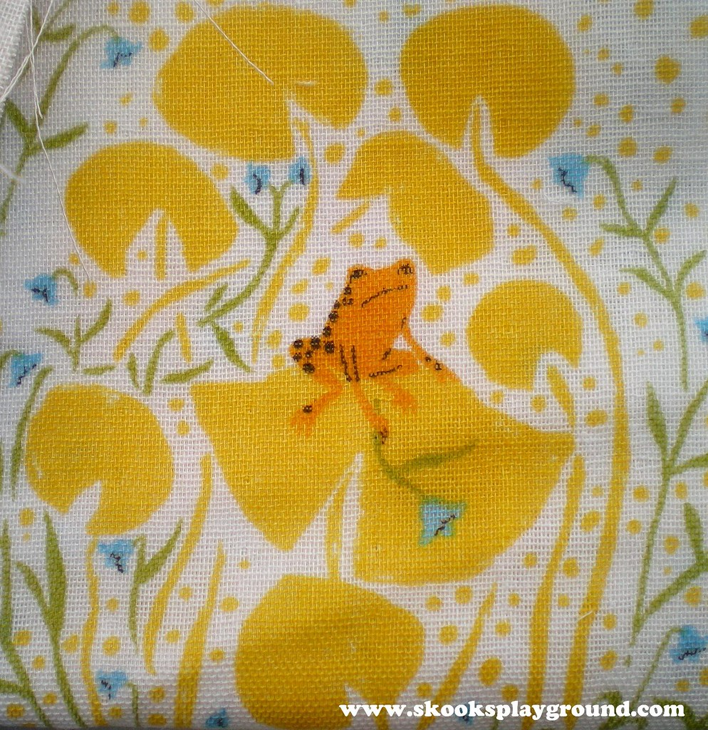 Heather Ross Far Far Away I - Frog Prince fabric detail