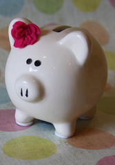 Pink flower piggy bank