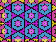 Mini Stars in Purple Bursts on Turquoise over Yellow Bursts in Pink Hex 12.3 (Crystal Writer) Tags: pictures original light abstract color colour reflection colors tile creativity mirror design colorful pattern colours image crystal unique patterns creative picture optical kaleidoscope m