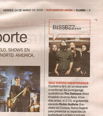 [Clipping] The Datsuns @ Buenos Aires, Argentina