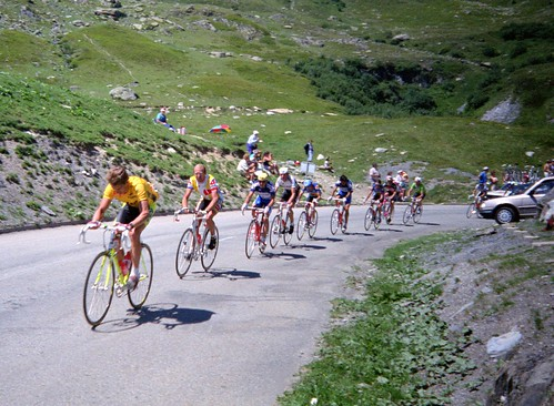 Greg LeMond leading Laurent Fignon over the top of the Col de la Croix de Fer during the 1989 Tour de France. LeMond went on to win the Tour that year by just 8 seconds after the final time trial in Paris. Photo: Steve Selwood
