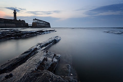 Not Sure I Like People (jasontheaker) Tags: sunset sea seascape canon spring waves peace harbour whitby isolation lowtide lighhouse themoulinrouge landscapephotography firstquality sigma1020 eastcoast jasontheaker northyorkshire