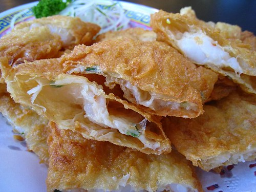 Fried Beancurd Skin stuffed with Seafood Paste
