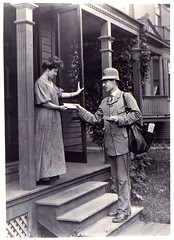 Letter Carrier Delivering Mail (Smithsonian Institution) Tags: bw woman uniform mail postoffice delivery usps everydaylife postalservice mailman 1900s lettercarrier smithsonianinstitution womensday gibsongirl nationalpostalmuseum postofficedepartment commons:collection=mail mailacrossthecommons notagibsongirl